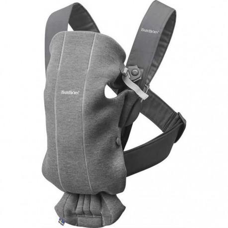 BabyBjorn - Marsupiu anatomic Mini cu pozitii multiple de purtare - Dark Grey 3D Jersey