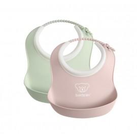 Set 2 bavete BabyBjorn Soft Bib Powder Green - Powder Pink