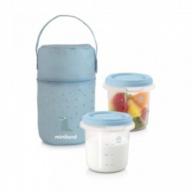 Set 2 recipiente plastic 250 ml cu gentuta izoterma Miniland