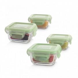 Set 3 recipiente din sticla 160 ml ermetice Chip Miniland