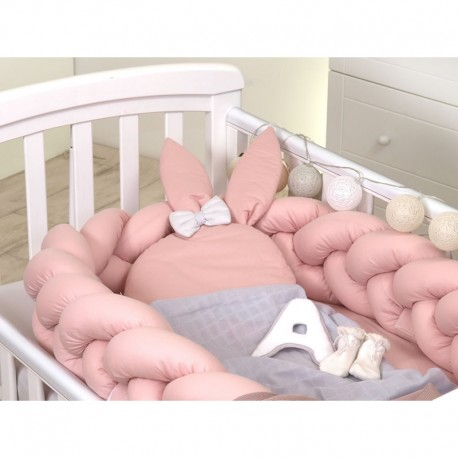 Protectie impletita pentru patut si Baby Nest Jolie Pure Rose 210x21 cm