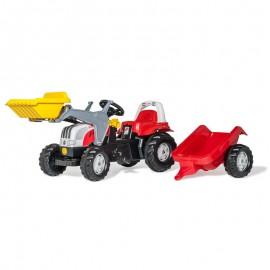 Buldozer cu pedale remorca si cupa Rolly Toys RollyKid Steyr 6165 CVT
