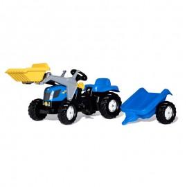 Buldozer cu pedale remorca si cupa Rolly Toys RollyKid New Holland T7040