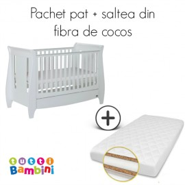 Set patut si salteluta pentru bebelusi Lucas White Tutti Bambini