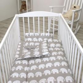 Lenjerie 3 piese 120x60 cm Jolie Elephant Grey