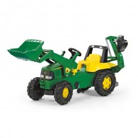 Buldoexcavator cu pedale Rolly Toys RollyJunior John Deere 3-8 ani